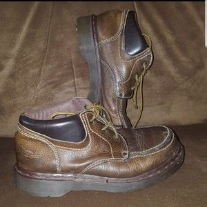 DR. MARTENS MOC TOE ANKLE BOOTS 8458 BROWN LEATHER